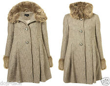 Topshop Boucle Wool Tweed Fur Collar Cuff Skirted Vtg Winter Swing Coat 8 36 US4