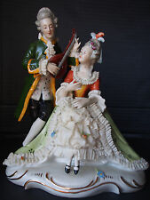 Large Antique Meissen Lady Man Porcelain Lace Figure~Music Serenade~August Rex