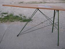 Vintage Keller Wood & Green Metal Legs Ironing Board good for decor or to use