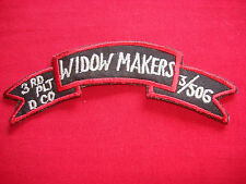 3rd Platoon D Company 506th Infantry Regiment WIDOW MAKERS - Vietnam War Patch