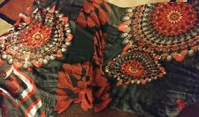 Desigual Large Scarf Wrap NWOT Mandalas Hearts Valentines Day Red Black White