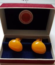 Bernstein Butterscotch Amber 老琥珀 10,3 gr. Manschettenknöpfe  egg Yolk cufflink
