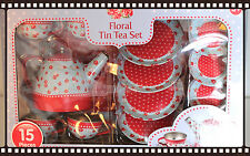 Vintage Tin Tea Set Ideal Gift New 15 Pieces Childs Toy Retro Floral