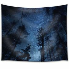 Starry Sky Above a Forest - Fabric Tapestry, Home Decor - 51x60 inches