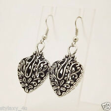 Unique Designer Tibetan Silver Hollow Heart Dangle Fashion Retro Vintage Earring