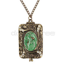 Chic Retro Copper Flower Crystal Bird Long Charm Locket Pendant Necklace Women