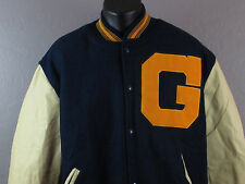 NEW HOLLOWAY Melton Wool Letterman Jacket + Vinyl Sleeves Plush Lining - XL