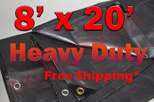 8x20 Silver Heavy Duty  UV Treated Tarp Woodpile Shade Canopy Cover Tarps Boat
