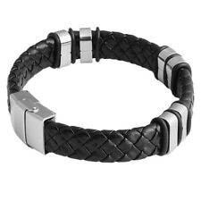 1pc Hot Sale Black Braided Leather Stainless Steel Wristband Bracelet For Men D