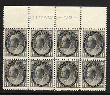 CANADA 1897-98 ½c GREY-BLACK IN IMPRINT BLOCK OF EIGHT SG 141 MNH.
