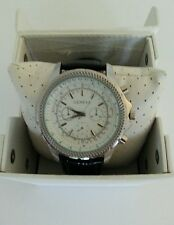 Men's Geneva Blk Leather Strap Stainless Steel Chronograph Water Resistant NEW.