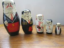 Vintage Matryoshka Wooden Nesting Dolls 5pc Set of Russian Leaders & Politicians