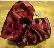 "5"" WIDE FRENCH SATIN & TAFFETA STRIPE WIRED RIBBON -BRICK RED/BURGUNDY"