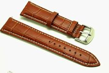 21mm Brown Leather Alligator Grain Watch Strap Contrast Stitch - Free Spring Bar