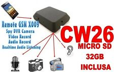 MICROSPIA GSM X009 SPIA AUDIO VIDEO INTERCETTAZIONE AMBIENTALE + SD32GB CW26