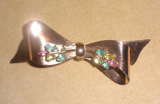 1940's Coro Sterling Craft Bow Pin w/ Rhinestone Accents