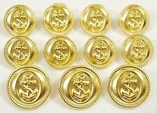 Polished GOLD Toned Metal NAUTICAL ANCHOR Sport Coat BLAZER BUTTON SET