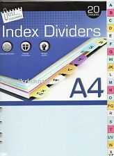 Multicoloured A To Z A-Z 20 Part A4 File Subject Index Dividers White Board
