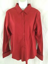 HUNT CLUB New Womens Spicy Red Broadcloth 100% Cotton SHIRT l/s TOP Size 14