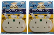 2x Far & Away Double Two Way Earthed Continental EU European Travel Adaptor Plug