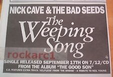 NICK CAVE The Weeping Song 1990  UK Press ADVERT 12x8 inches