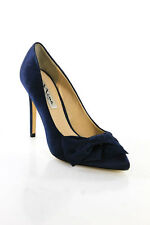 Nina Navy Blue Satin Bow Pointed Toe High Heel Pumps Size 37 7