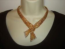 "14K Yellow White Gold Woven Knotted Scarf Diamond Tipped Fringe Necklace 17"" L"