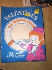 VINTAGE 1980'S VALENTINE CARDS SEALED BOX SET-31 VALENTINES FOR BOYS TO SEND