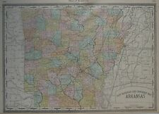 Original 1883 Railroad Township Map ARKANSAS Counties Mills Rivers Rand McNally
