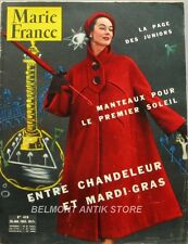 Marie-France n°426 - 1953 - La mode junior - Les manteaux - Mardi-gras -