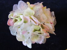 Millinery Flower Hydrangea Pink Green Ecru Velvet + Chiffon for Hat + Bride Y262