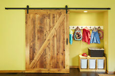 8FT Rustic Black Sliding Barn Wood Door Sliding Track kit for big door openning