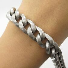 Italy Milor 925 Sterling Silver Thick Wide Men's Hollow Cuban Link Bracelet 6.5