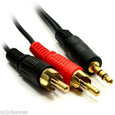 10m 3.5mm Jack to 2 x RCA Cable (Twin Phono) Audio Lead Stereo Plugs GOLD