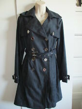 NINE WEST DARK BLUE TRENCH Coat MED Double Breasted Pleated SILVER BUTTONS NWOT