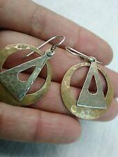 Vtg statement Majorie Baer MB SF modernist mixed metal hoop wire  earrings