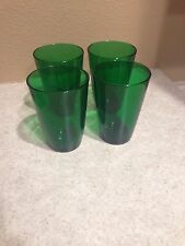 Antique Anchor Hocking Forest Green 4 Tumblers