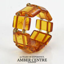 Opaque Rich Fiery Orange BALTIC AMBER Elastic Ring RB046 RRP-£35