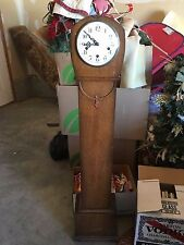 Antique Oak Granddaughter Floor Clock with Westminister Chimes Art Deco with Key