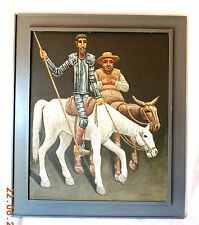 Beautiful Large Oil Painting of Two Males on Horses by Listed Artist V Badillo