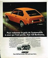 Publicité Advertising 1975 La Fiat 128 Berlinetta