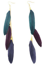 F2174 vogue multi-colored light long Feather chain dangle chandelier earrings