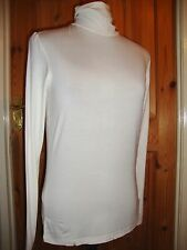 BNWT MAYSAA Ladies White Viscose Long Sleeved Polo Neck Top Size 12