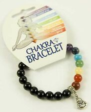 BEAUTIFUL BLACK ONYX & CHAKRA BEAD BRACELET WITH BUDDHA CHARM - HEALING / REIKI