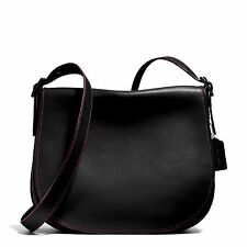 NWT COACH $395 BLACK #55298 GLOVE TANNED LEATHER SADDLE CROSSBODY  BAG