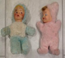 Lot of 2 Vintage Plush Baby Dolls Rubber Faces 9 1/2""