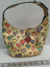 Dooney & Bourke HEARTS Bucket Bag Purse multicolor key clip hang fob
