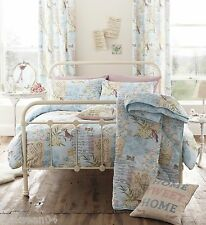 SONG BIRD KING SIZE BLUE BEIGE COTTON BLEND DUVET COVER SET #TSOPNIV *TUR*