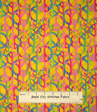 Overlapping Peace Sign Fabric ~ 100% Cotton 27 Inches ~ Flower Power Yellow