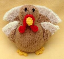KNITTING PATTERN - Christmas Turkey orange cover or 12 cms Thanksgiving toy